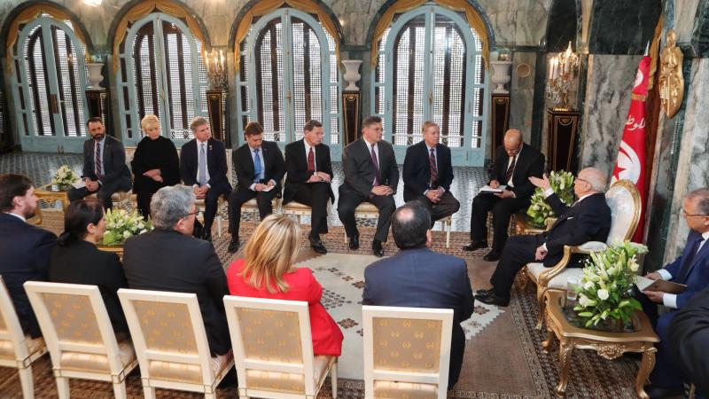 Une délégation du Congrès Américain au palais de Carthage