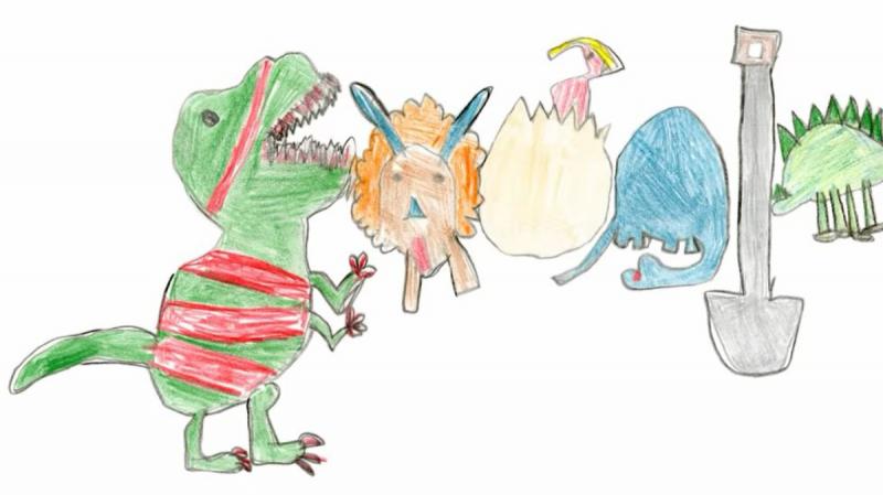 Une fillette créé un Doodle de dinosaures et remporte une bourse