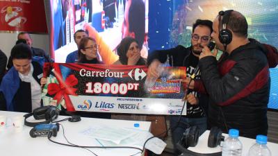 Félicitations à Saloua qui a gagné 18 mille dinars à l'occasion du 18éme anniversaire de carrefour
