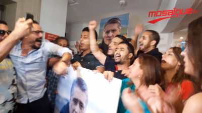 Ambiance au QG du candidat Nabil Karoui lors de l'annonce des résultats du 1er tour