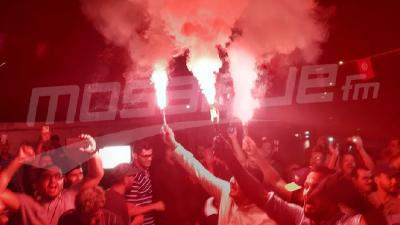إحتفالات أنصار حركة النهضة بعد الكشف عن النتائج التقديرية