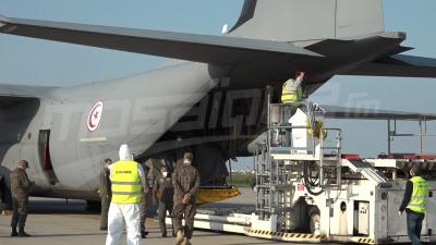 Arrivée de l'avion transportant une cargaison d'équipements médicaux en provenance de la Chine