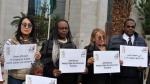 متظاهرون يحتجون أمام السفارة الليبية بتونس ضدّ ''العبودية''