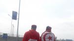 l'ambiance des supporters Tunisiens au stade du Spartak avant le match qui opposera la Tunisie à la Belgique