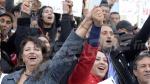 Rassemblement protestataire mené par Abir  Moussi devant le théâtre municipal de Tunis