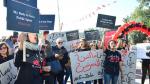 """Des manifestants devant l'ARP: """"le harceleur ne légifère pas"""""""