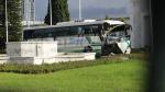 Les dégâts causés par la collision entre deux bus à l'Avenue Mohamed V